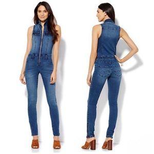 NY&CO Denim Sleeveless Zipper Jumpsuit